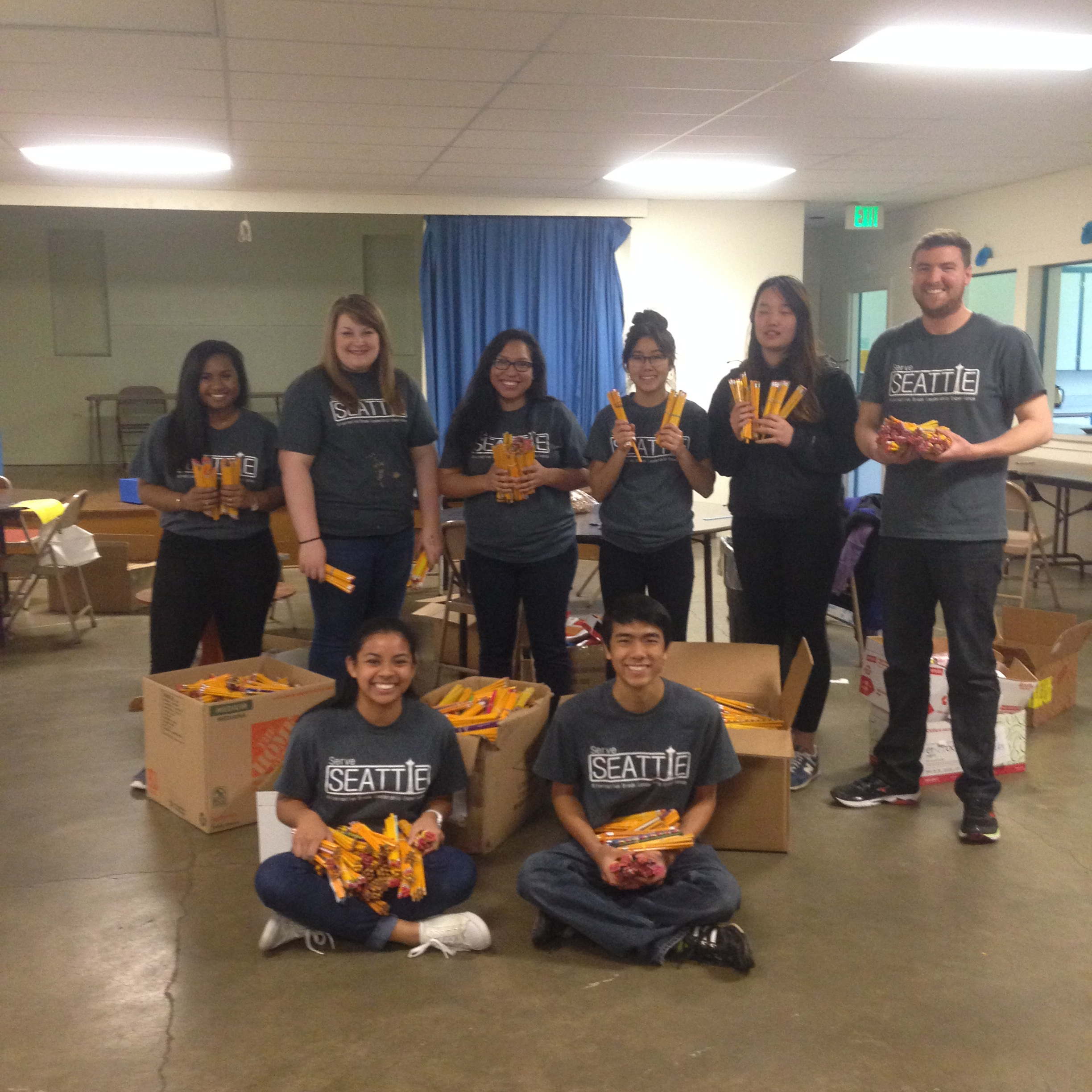 Two weeks ago a group of students from Concordia University in Portland finished off their week of service with Project Cool, sorting and counting supplies as we prepare for our summer volunteer days.  See below for more details.