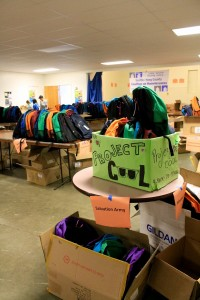 Packed Backpacks for Salvation Army