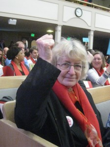 Sally Kinney,  Coalition Board member, ready to  fight the good fight at Housing & Homelessness Advocacy Day!