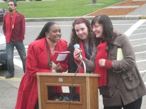 WLIHA director Rachael Myers, and two inspiring rally speakers led the chanting: What do we want? Homes for all!