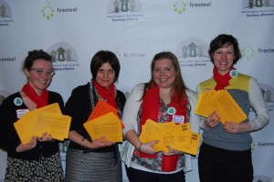 A simple message can make a big impact. Here are Nina, Maggie, Kathryn, and me (Rebecca) holding hundreds of to-be-delivered advocacy postcards at #HHAD2014.